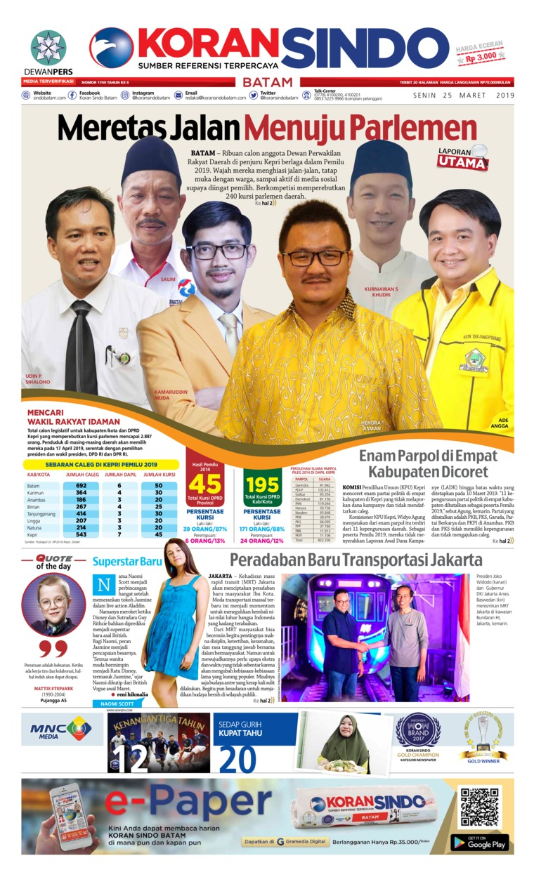 KORAN SINDO BATAM Digital Newspaper 25 March 2019