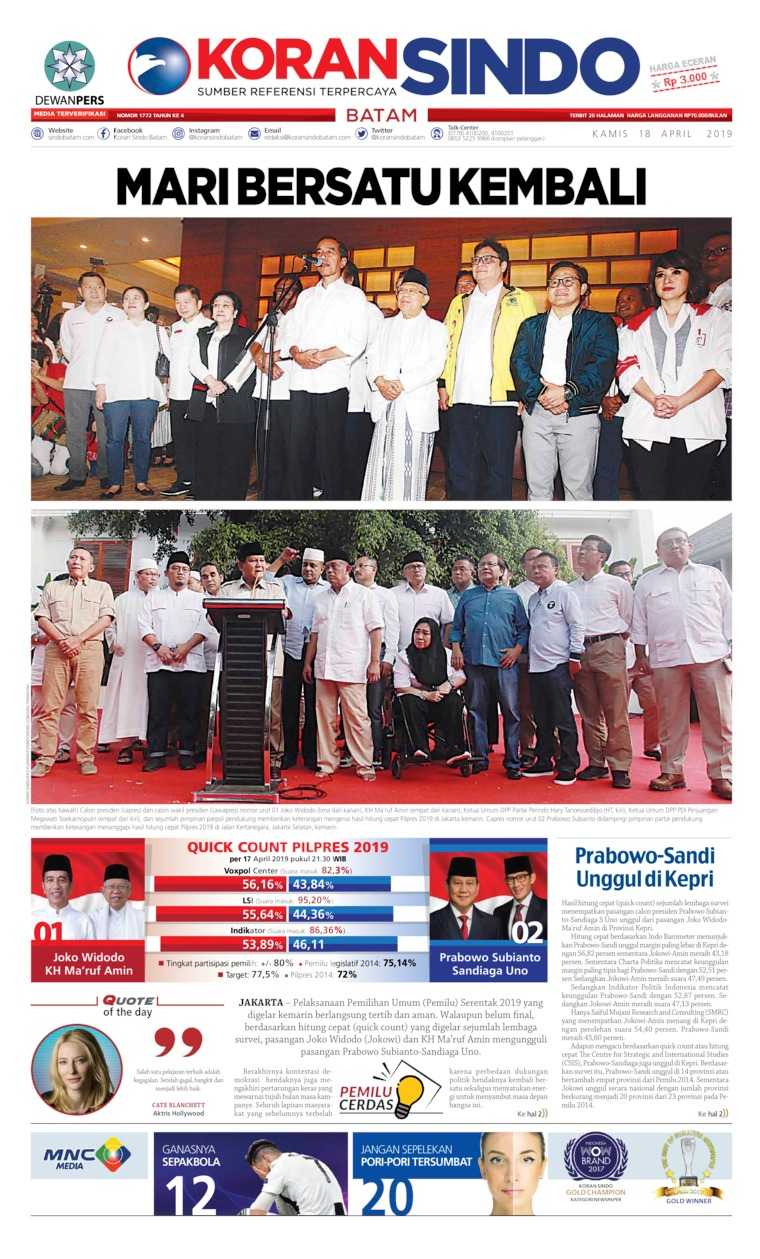 Koran Digital KORAN SINDO BATAM 18 April 2019