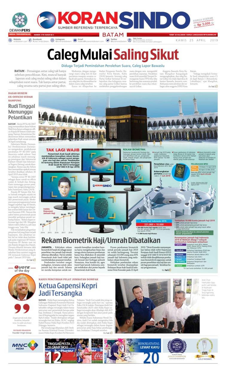 Koran Digital KORAN SINDO BATAM 25 April 2019