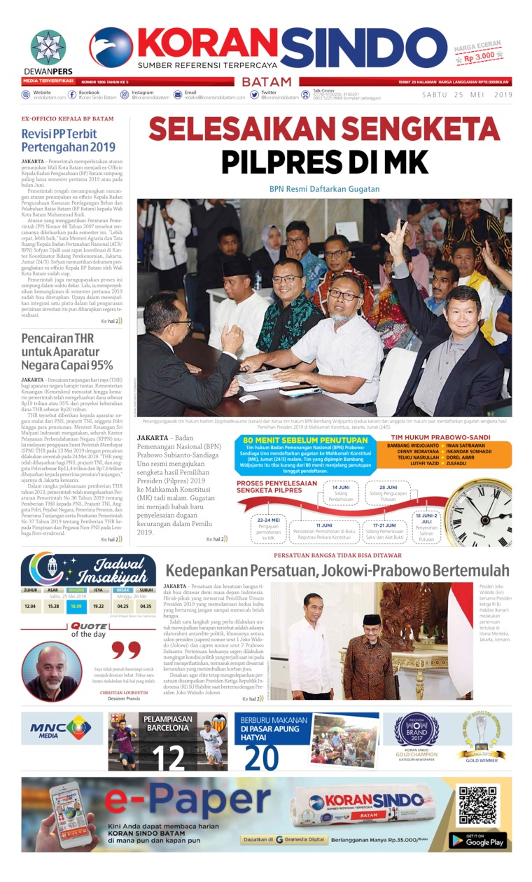 KORAN SINDO BATAM Digital Newspaper 25 May 2019