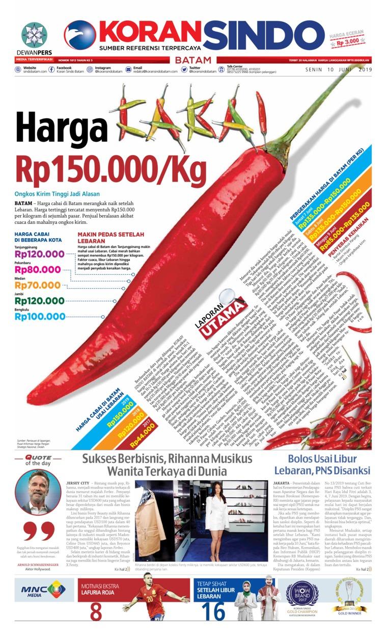 KORAN SINDO BATAM Digital Newspaper 10 June 2019
