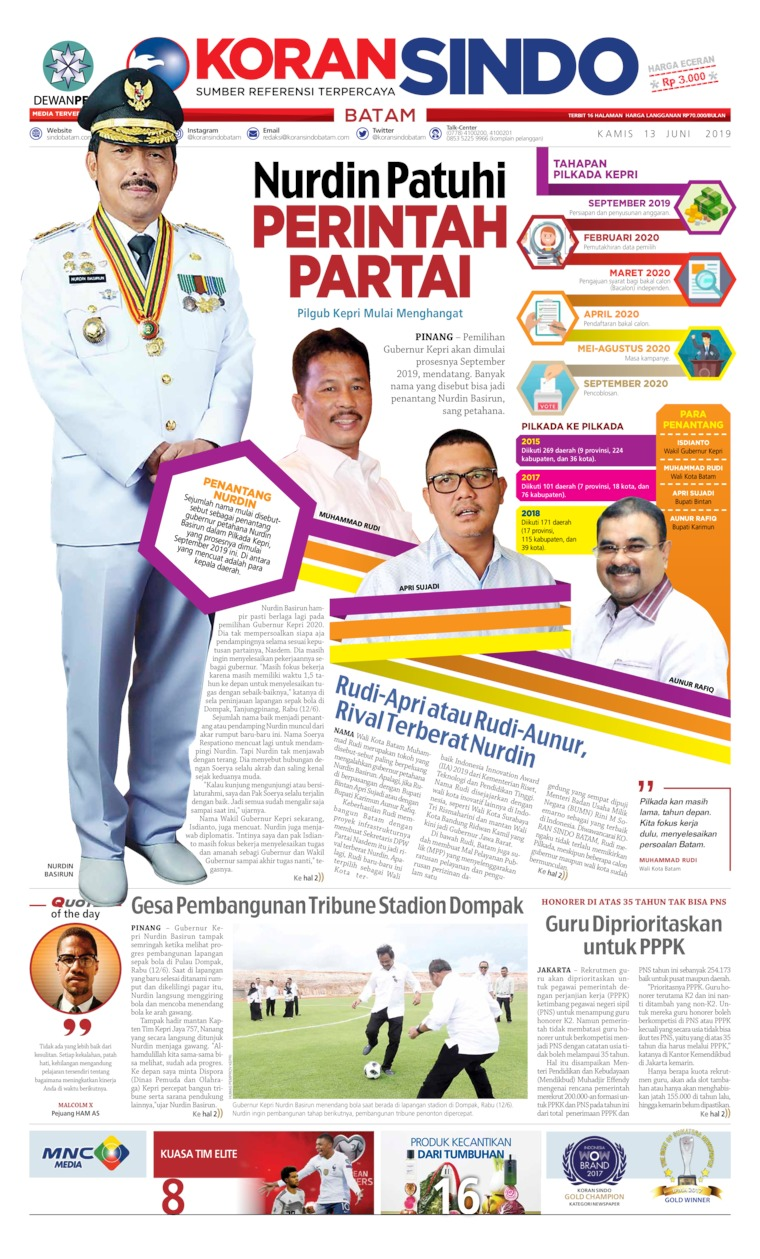 KORAN SINDO BATAM Digital Newspaper 13 June 2019