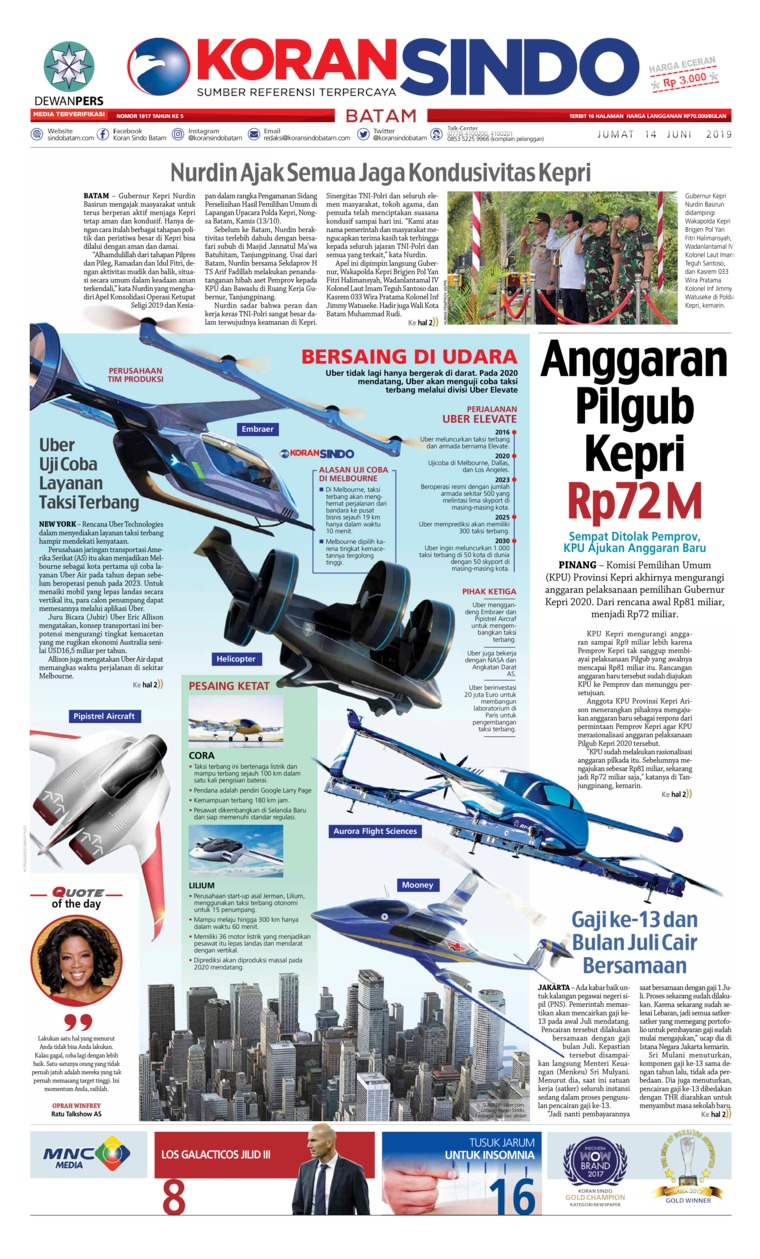KORAN SINDO BATAM Digital Newspaper 14 June 2019