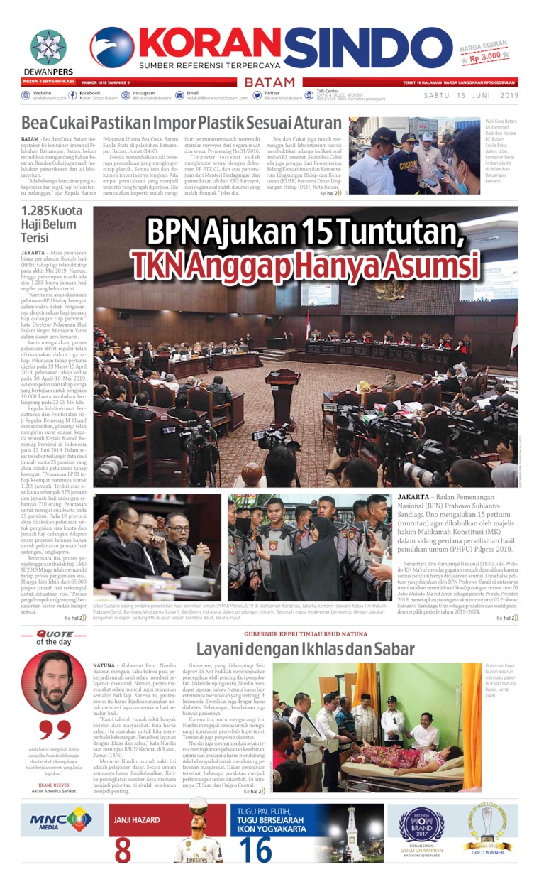 KORAN SINDO BATAM Digital Newspaper 15 June 2019