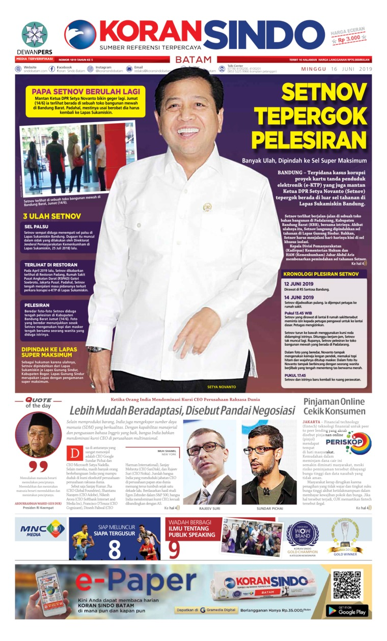 KORAN SINDO BATAM Digital Newspaper 16 June 2019