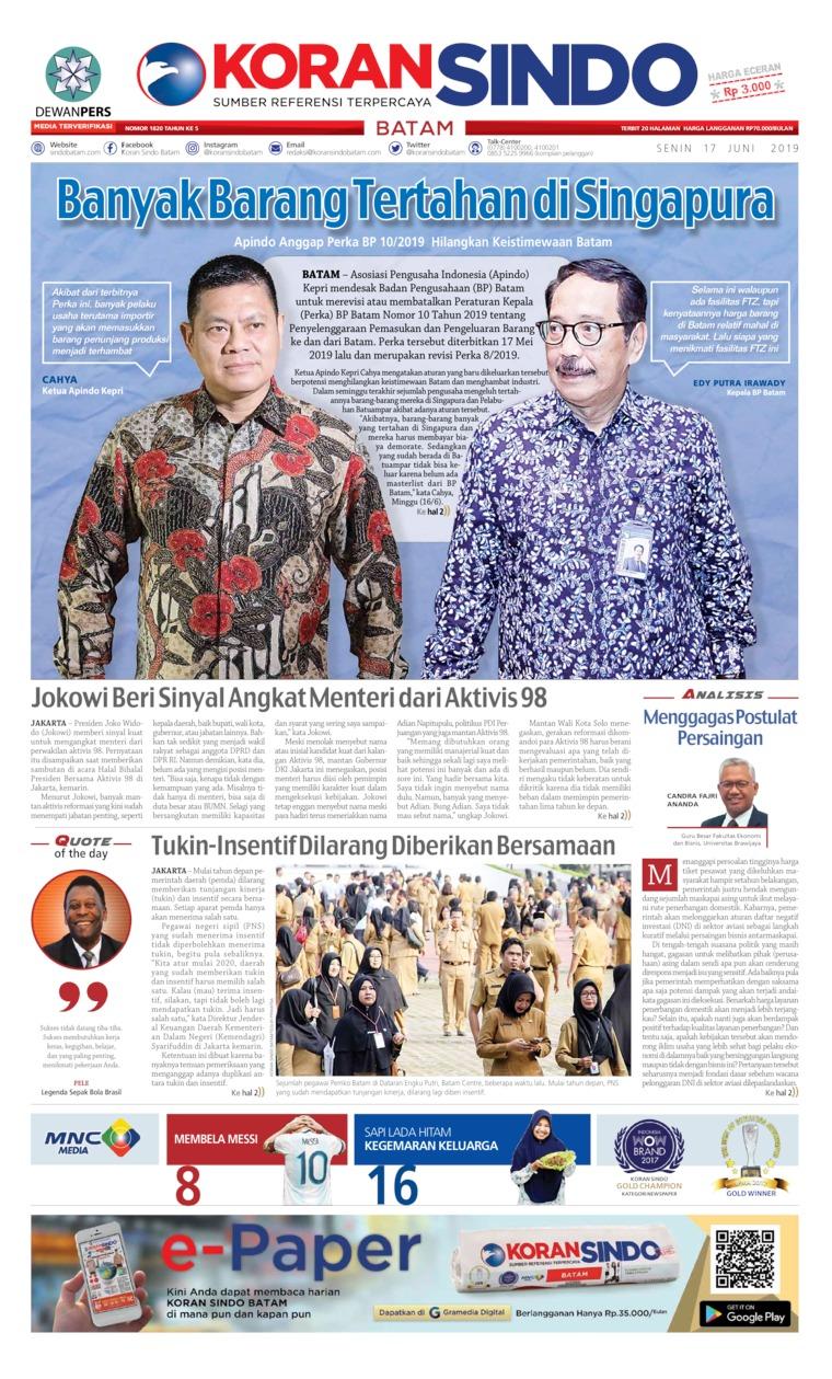 Koran Digital KORAN SINDO BATAM 17 Juni 2019