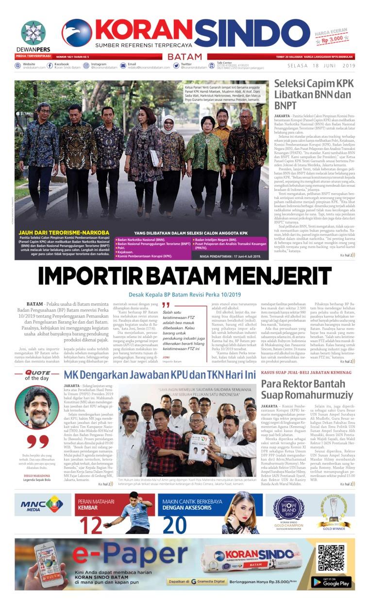 Koran Digital KORAN SINDO BATAM 18 Juni 2019
