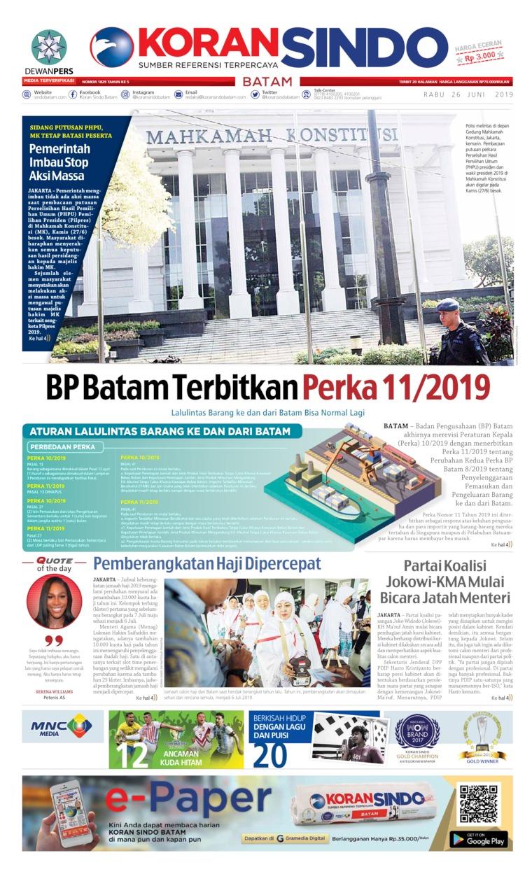 Koran Digital KORAN SINDO BATAM 26 Juni 2019