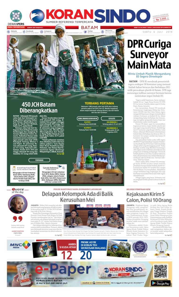 KORAN SINDO BATAM Digital Newspaper 06 July 2019