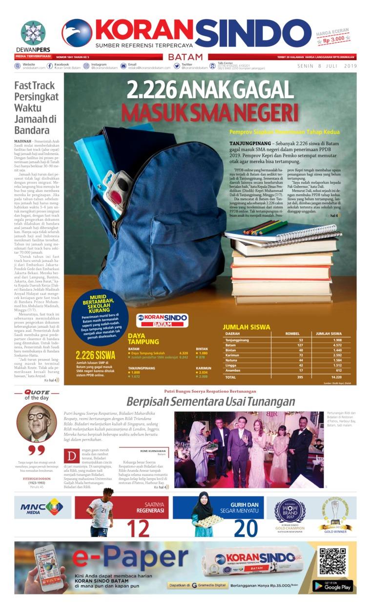 KORAN SINDO BATAM Digital Newspaper 08 July 2019