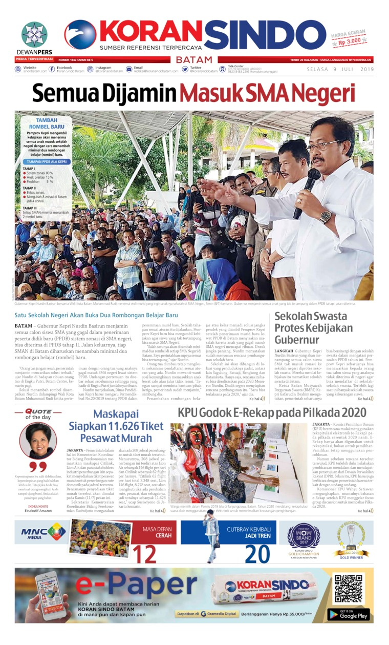KORAN SINDO BATAM Digital Newspaper 09 July 2019