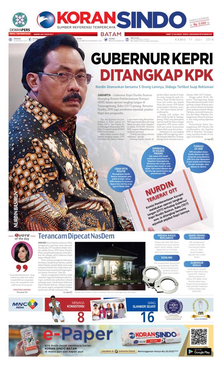 KORAN SINDO BATAM Digital Newspaper 11 July 2019