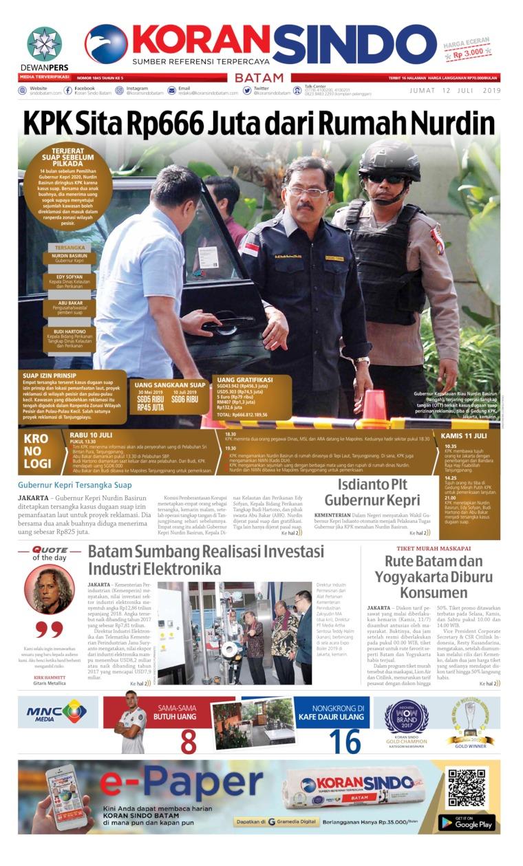 Koran Digital KORAN SINDO BATAM 12 Juli 2019