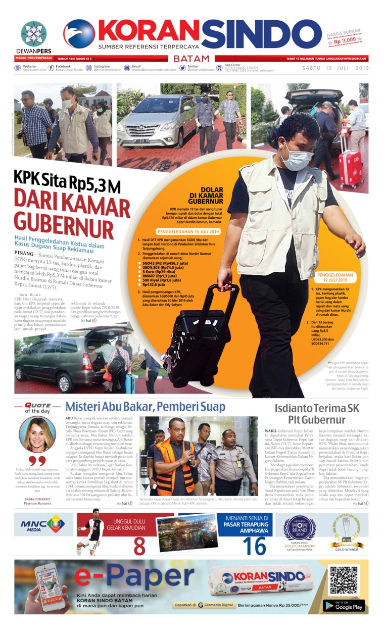 KORAN SINDO BATAM Digital Newspaper 13 July 2019