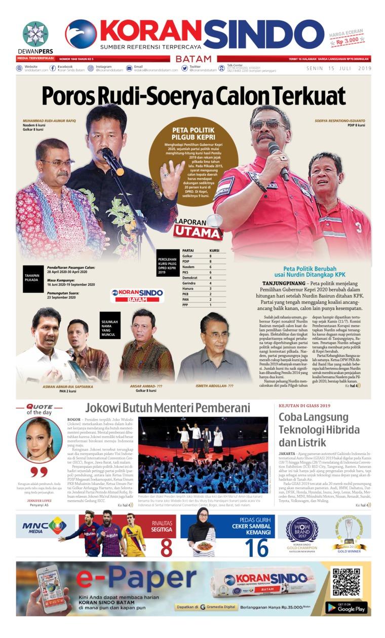 KORAN SINDO BATAM Digital Newspaper 15 July 2019