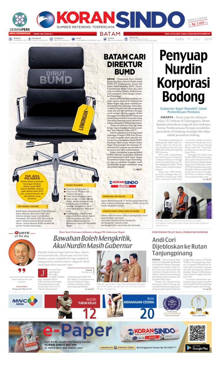KORAN SINDO BATAM Digital Newspaper 17 July 2019