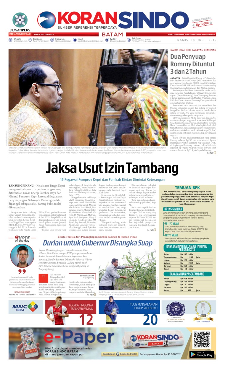 KORAN SINDO BATAM Digital Newspaper 18 July 2019
