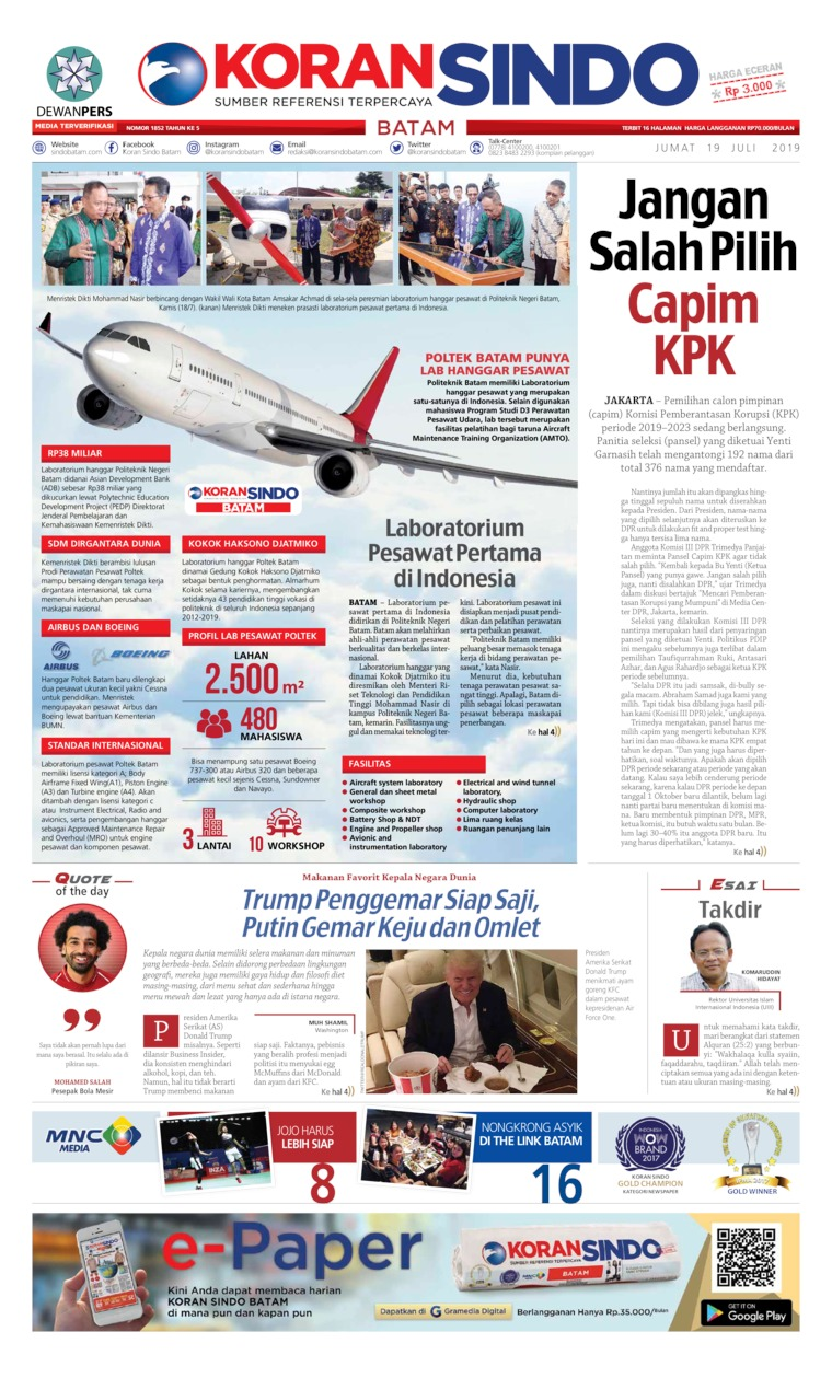 KORAN SINDO BATAM Digital Newspaper 19 July 2019