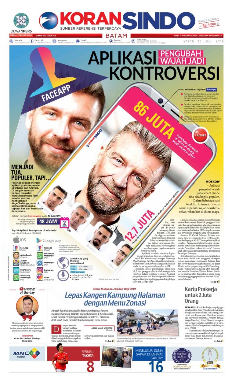 KORAN SINDO BATAM Digital Newspaper 20 July 2019