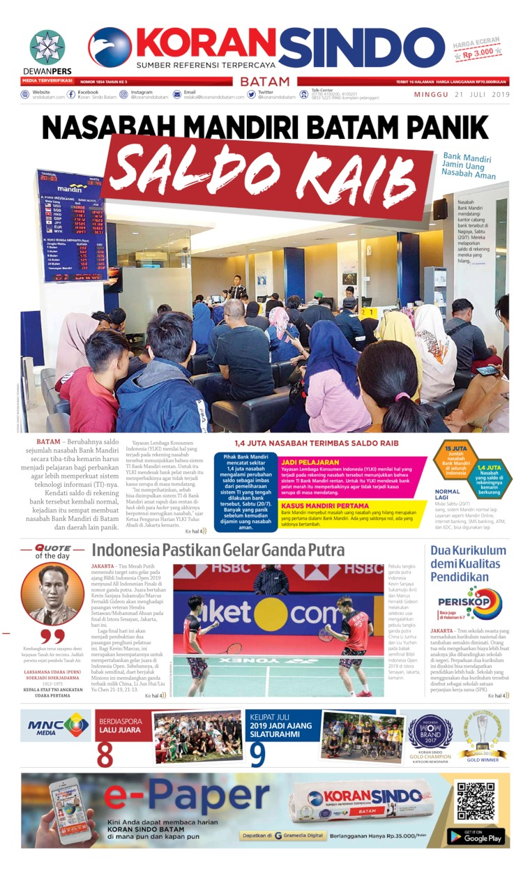 KORAN SINDO BATAM Digital Newspaper 21 July 2019