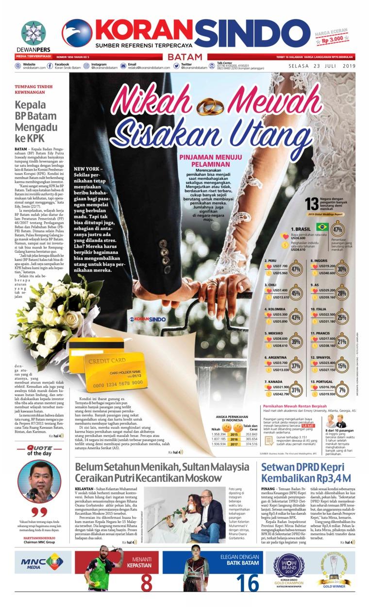 KORAN SINDO BATAM Digital Newspaper 23 July 2019