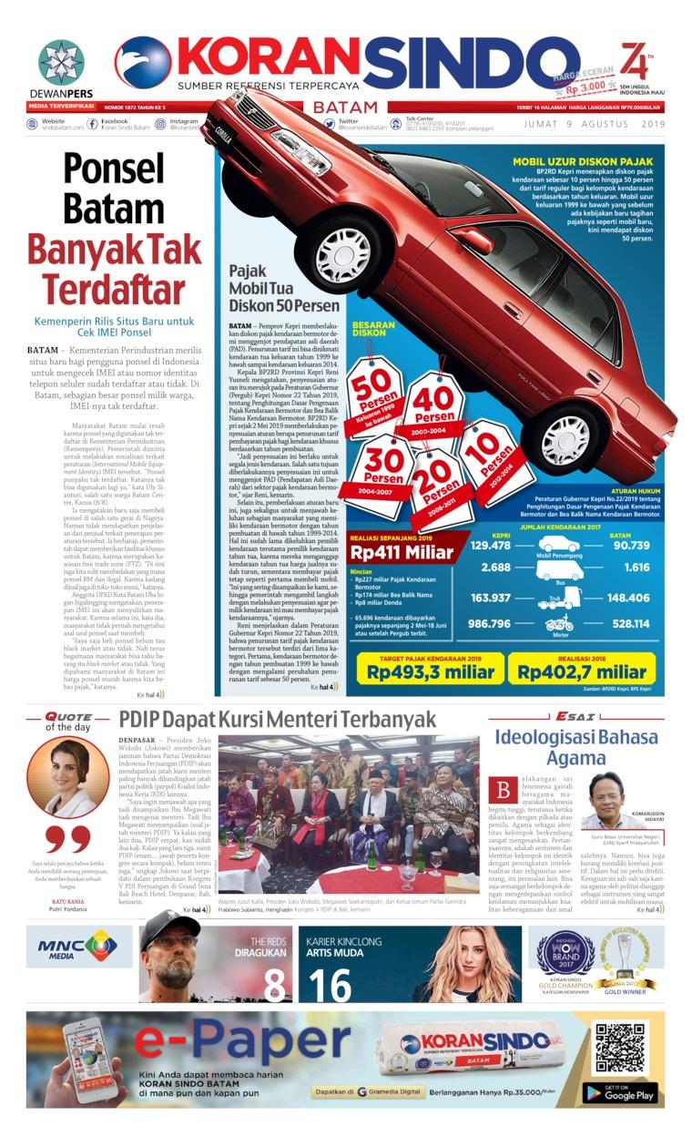 Koran Digital KORAN SINDO BATAM 09 Agustus 2019