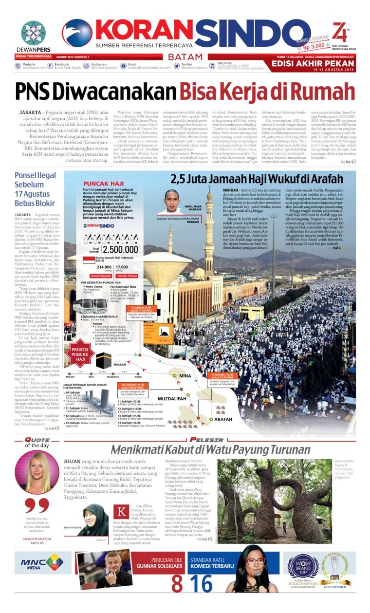 Koran Digital KORAN SINDO BATAM 10 Agustus 2019