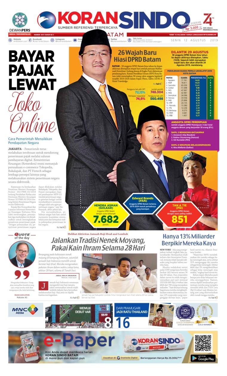 Koran Digital KORAN SINDO BATAM 12 Agustus 2019