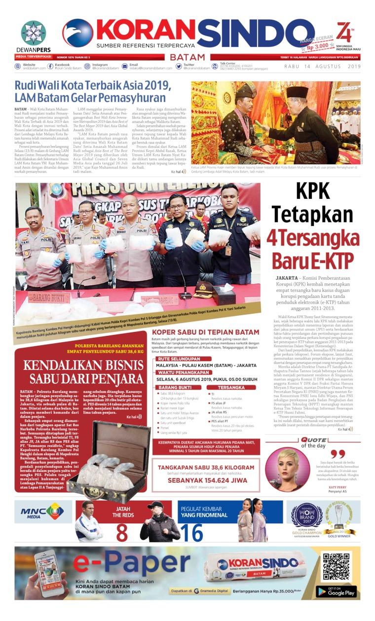 Koran Digital KORAN SINDO BATAM 14 Agustus 2019
