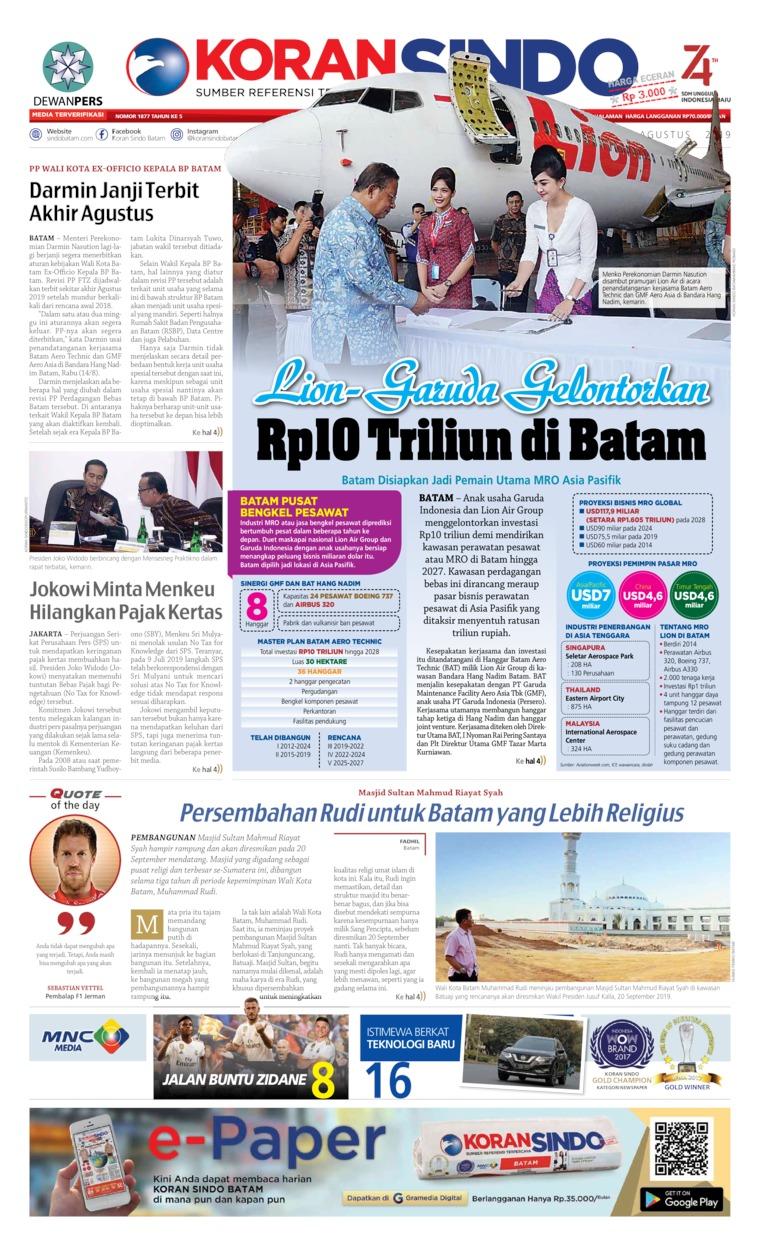 Koran Digital KORAN SINDO BATAM 15 Agustus 2019