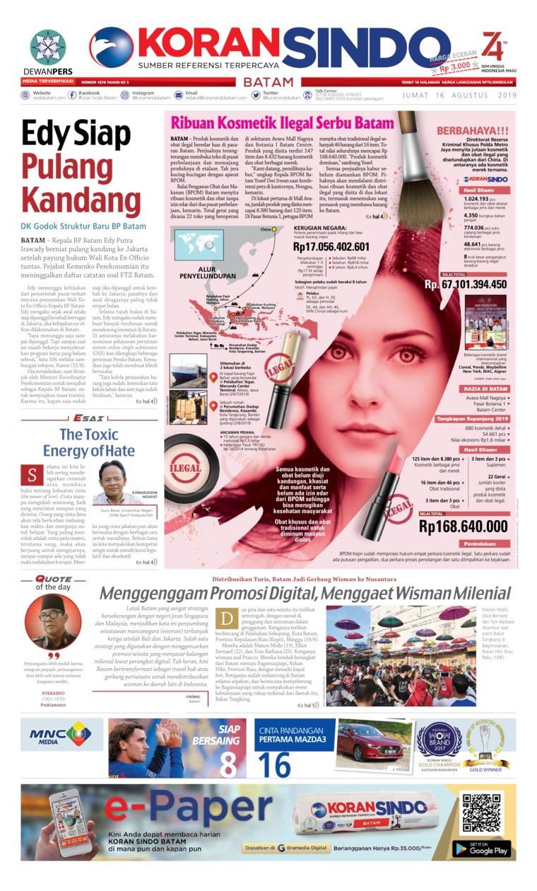 Koran Digital KORAN SINDO BATAM 16 Agustus 2019