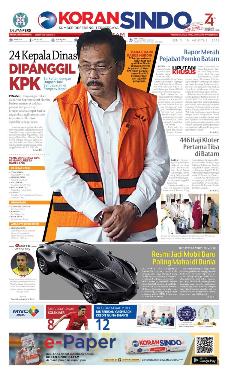 KORAN SINDO BATAM Digital Newspaper 19 August 2019