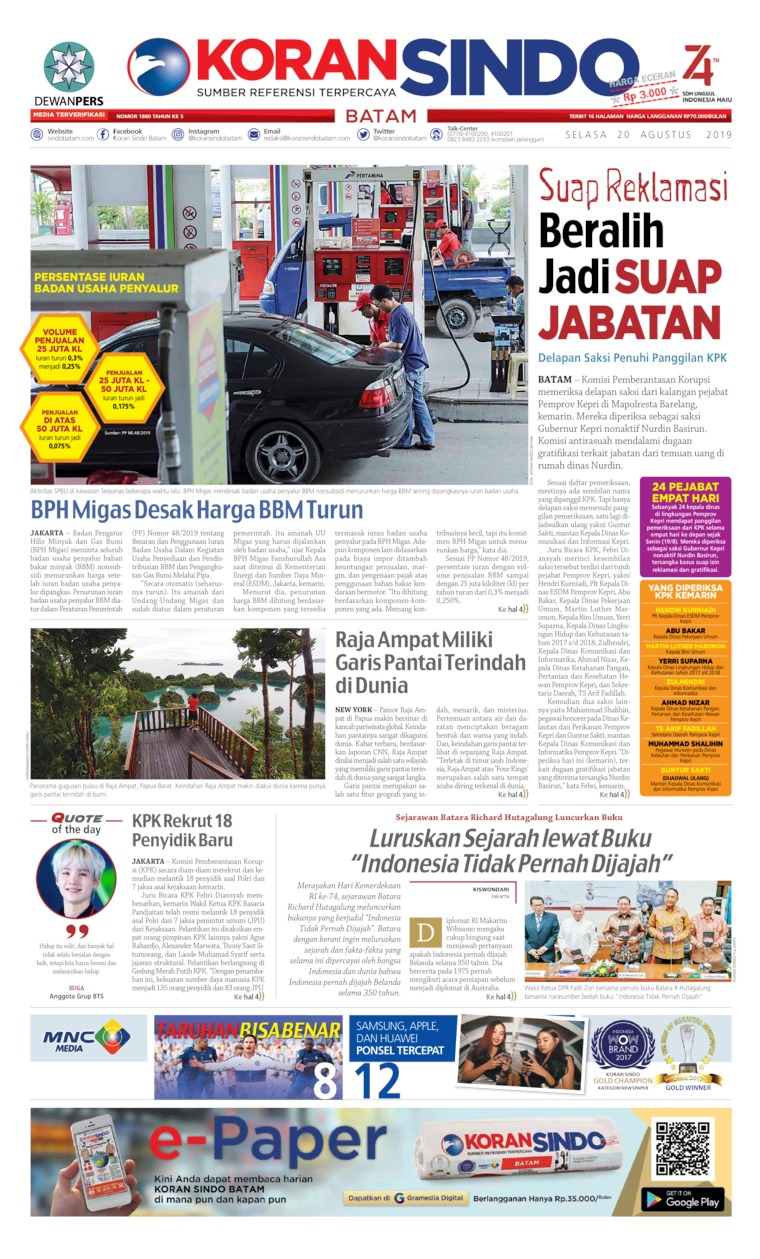 KORAN SINDO BATAM Digital Newspaper 20 August 2019