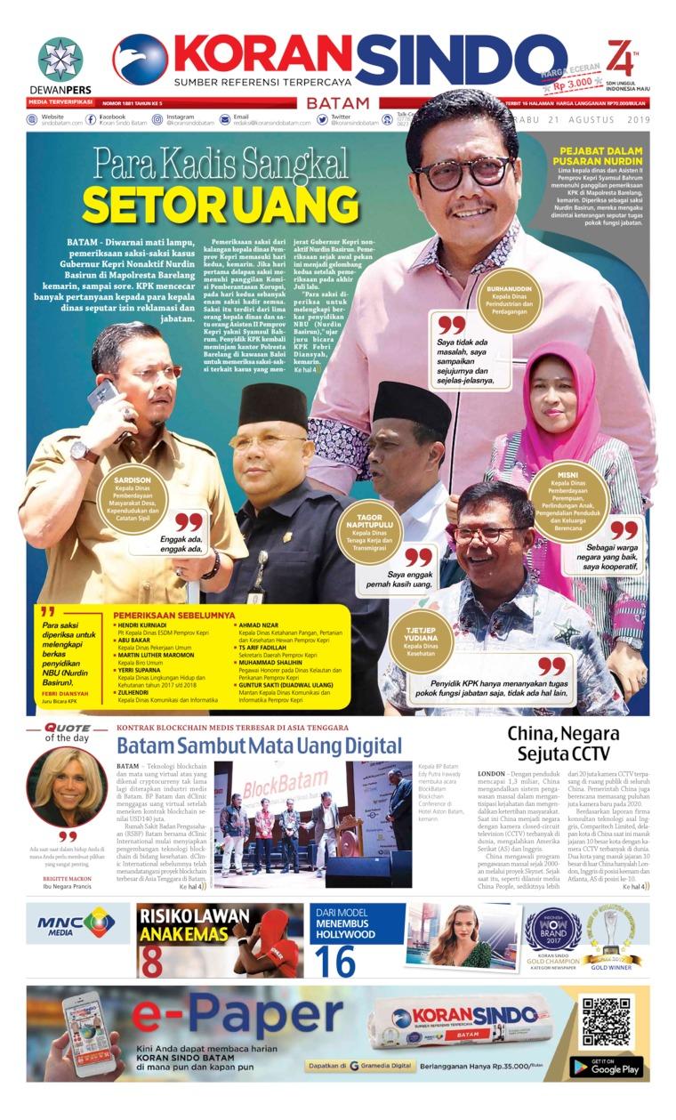 KORAN SINDO BATAM Digital Newspaper 21 August 2019