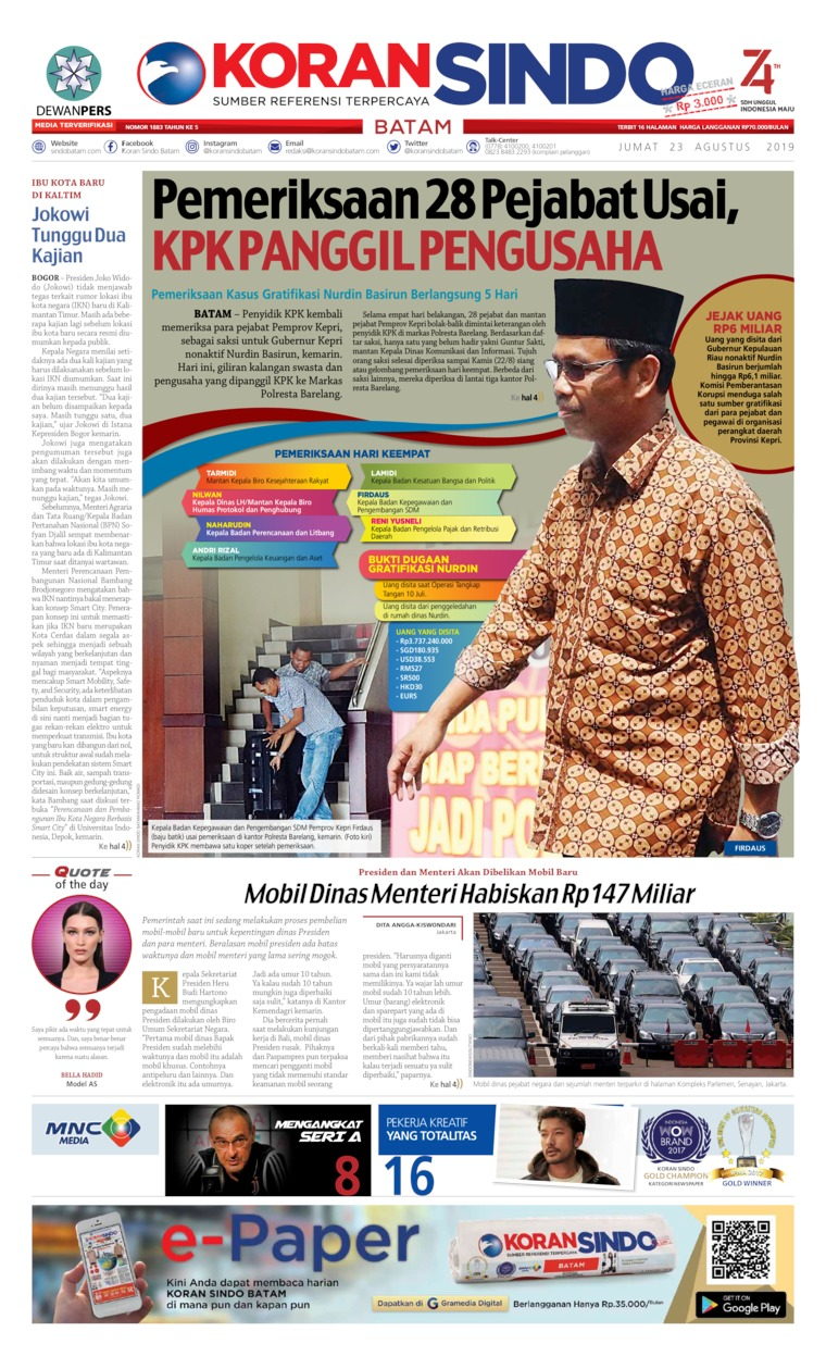 KORAN SINDO BATAM Digital Newspaper 23 August 2019