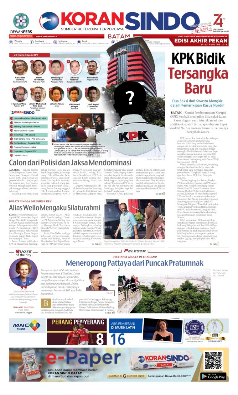 Koran Digital KORAN SINDO BATAM 24 Agustus 2019