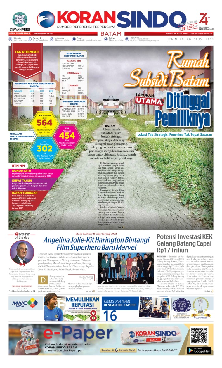 KORAN SINDO BATAM Digital Newspaper 26 August 2019