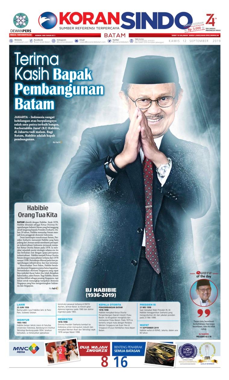 Koran Digital KORAN SINDO BATAM 12 September 2019