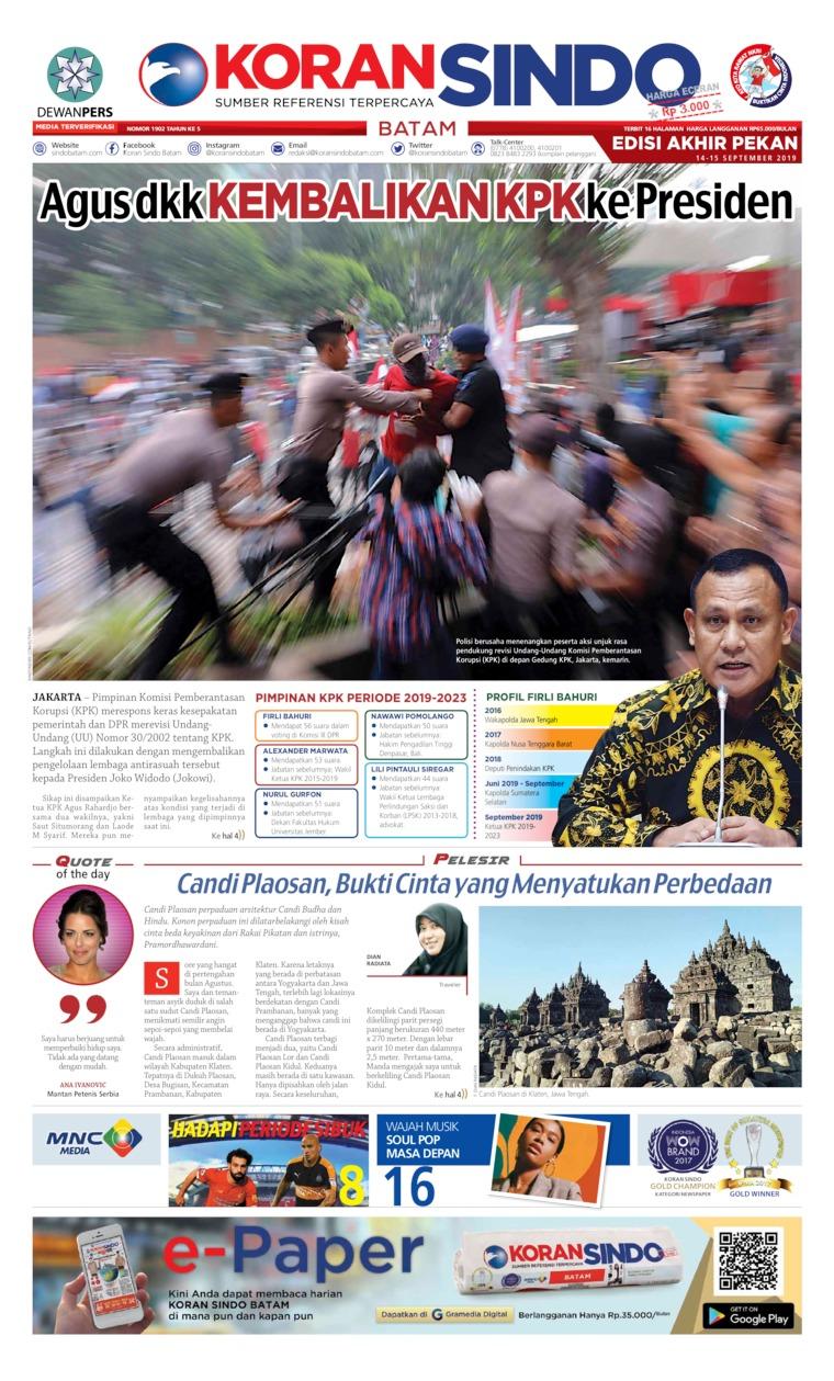 Koran Digital KORAN SINDO BATAM 14 September 2019
