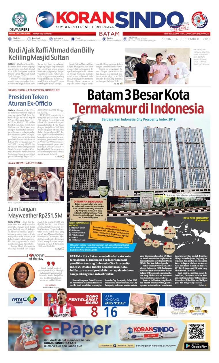 KORAN SINDO BATAM Digital Newspaper 16 September 2019