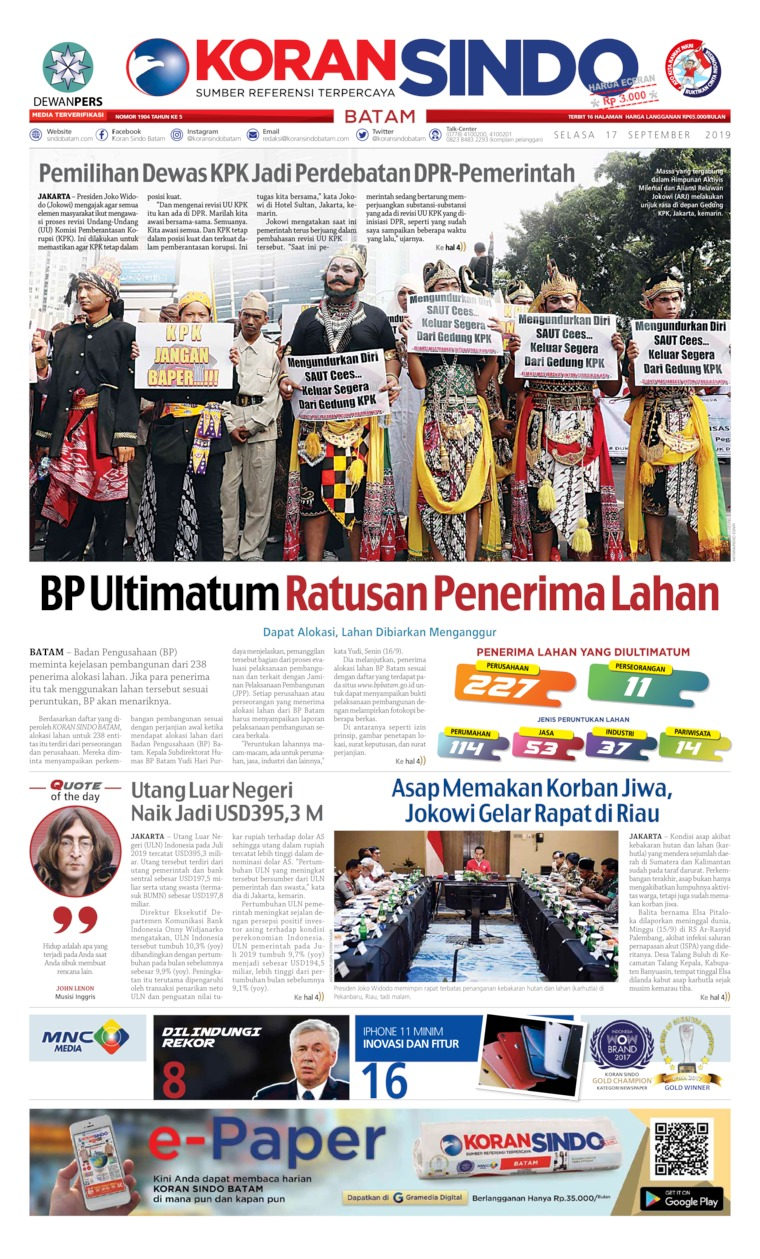 Koran Digital KORAN SINDO BATAM 17 September 2019