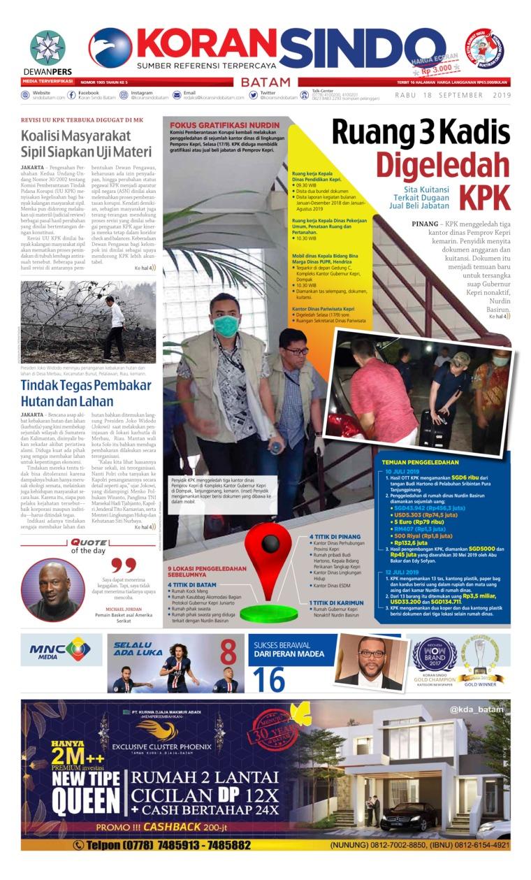 Koran Digital KORAN SINDO BATAM 18 September 2019