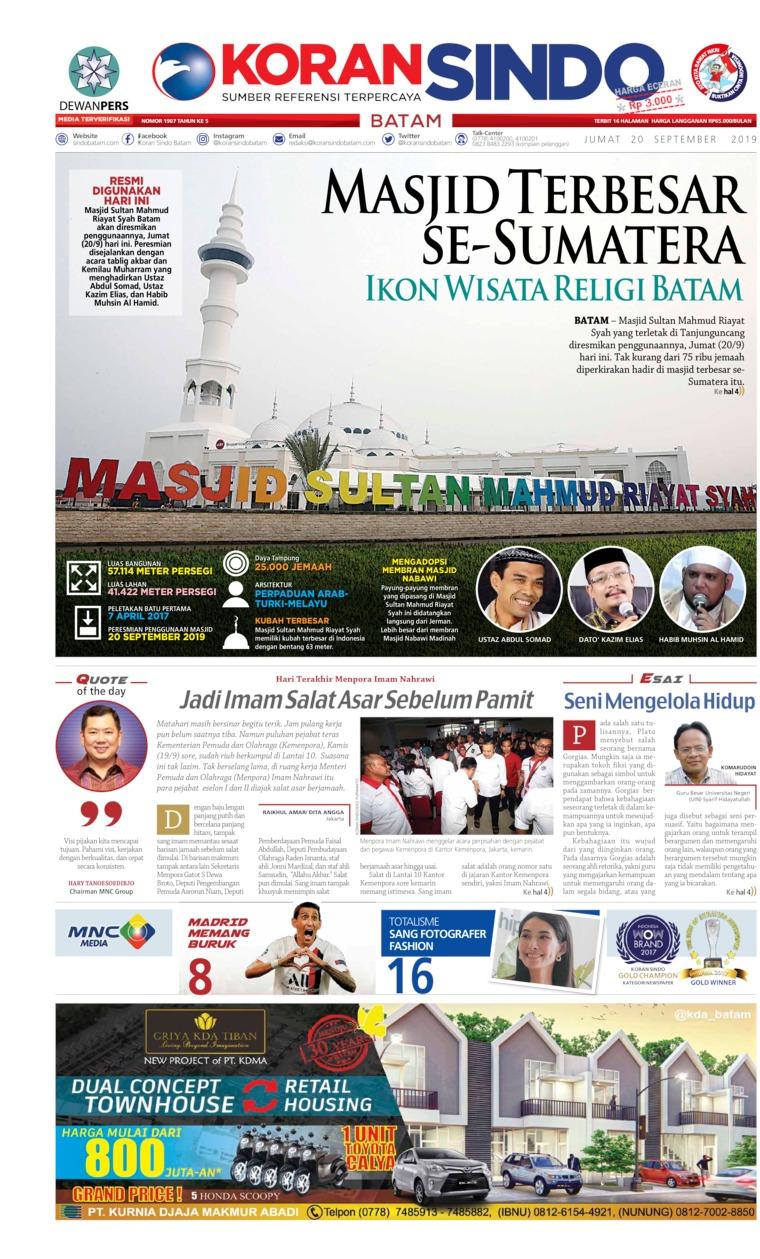 Koran Digital KORAN SINDO BATAM 20 September 2019