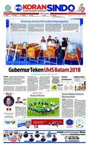 Cover KORAN SINDO BATAM 23 Juni 2018