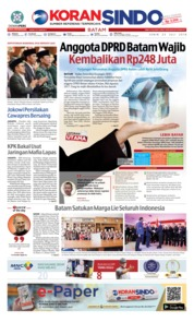 Cover KORAN SINDO BATAM 23 Juli 2018