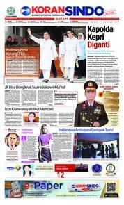 Cover KORAN SINDO BATAM 14 Agustus 2018