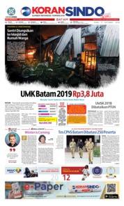 Cover KORAN SINDO BATAM 17 Oktober 2018