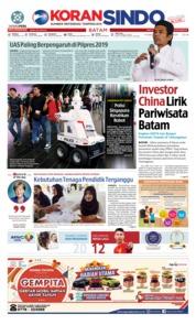 Cover KORAN SINDO BATAM 15 November 2018