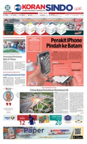 Cover KORAN SINDO BATAM 08 Desember 2018