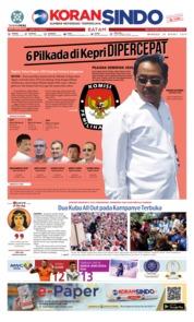 Cover KORAN SINDO BATAM 24 Maret 2019